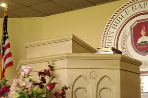 picture of the pulpit in the chapel area