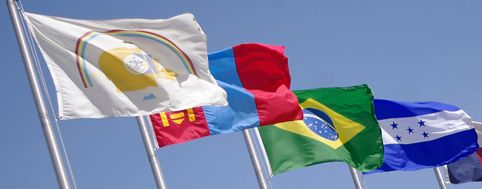 International flags flying in the breeze