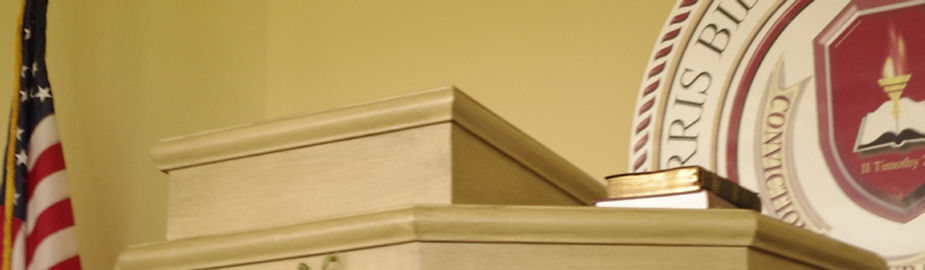 picture of the pulpit at Norris Seminary