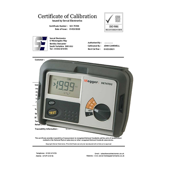 Earth Resistance Tester Calibration