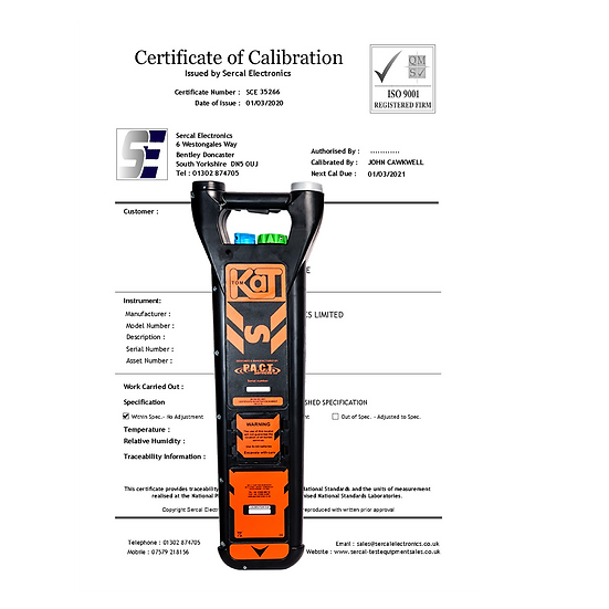 Cable Avoidance Tool Calibration