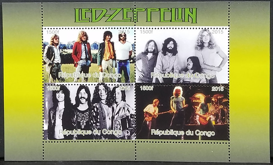 Led Zeppelin Congo Block Stamp Sheet, Four Stamps, Connected. Excel Cond.