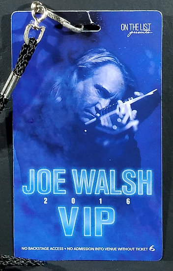 SOLD Walsh VIP Backstage Pass and Lanyard 2016 Tour. Excellent Condition Overall