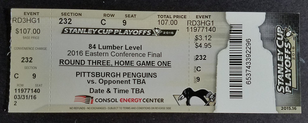 Pittsburgh Penguins 2016 Stanley Cup Complete Ticket Stub