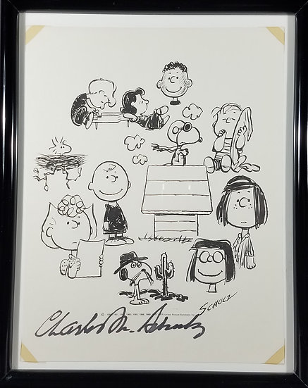 Signed Charles M. Schulz Printed Art Signed In Ink, JSA-LOA Certified