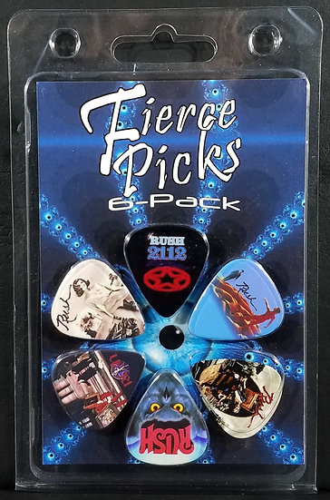 Rush 'Fierce Picks 6-Pack', Medium (0.7 mm), Printed. NEW.