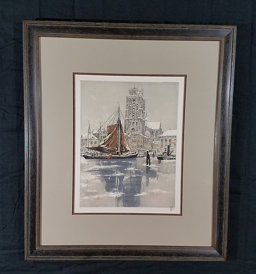 """Vintage   Hans Figura Original Aquatint Etching """"Dordrecht"""" #58 Excel Cond."""