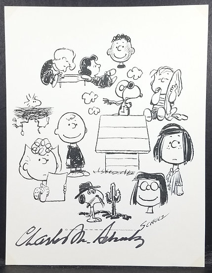 JSA-LOA Certified Charles M. Schulz Inscribed Printed Art Signed In Ink