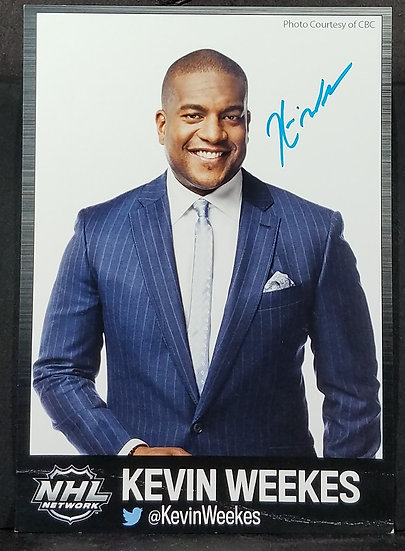 NHL's Kevin Weekes signed 5 x 7 in card, 2014.