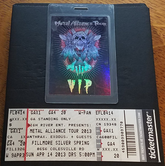 Anthrax VIP Laminate + Ticket Metal Alliance Tour