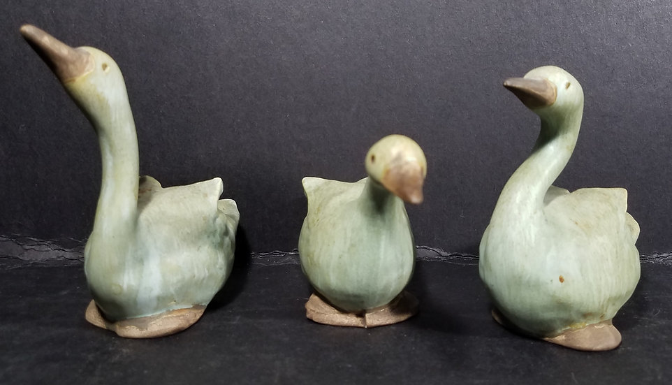 SOLD Vintage Klages Set of Three Glazed Geese Figurines