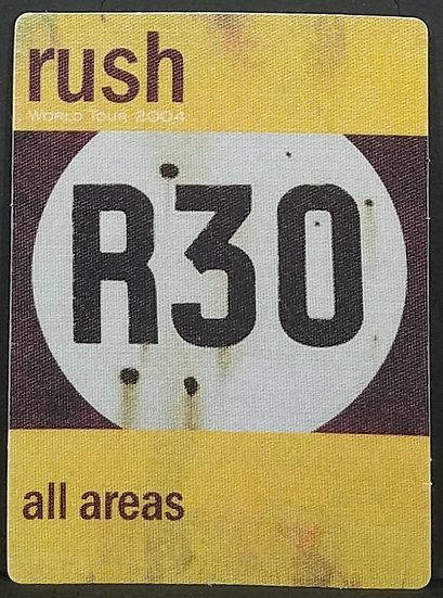 RUSH R30 All Areas Satin Cloth Back Stage Pass, Unused