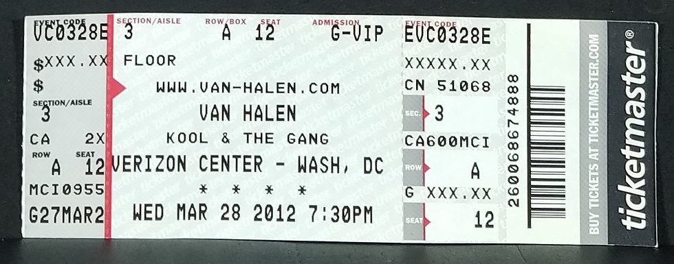 an Halen/Kool & The Gang 'Front Row' Used Ticket, 3/28/2012, Wash. D.C