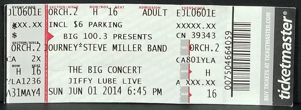 Journey & Steve Miller VIP Ticket, 6/1/2014. Good Condition.