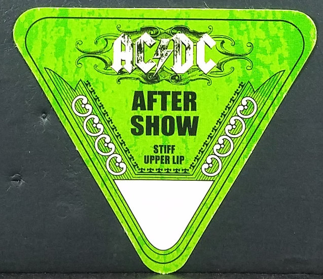 AC/DC Backstage Pass After Show 'Stiff Upper Lip' Tour Unused