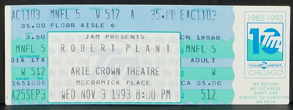 Robert Plant Used Ticket 1993 Excellent Cond.