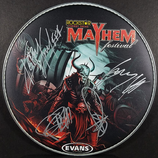 SOLD Slayer Signed Collectable Drumhead Mayhem Festival 2015 Excel Cond Last One