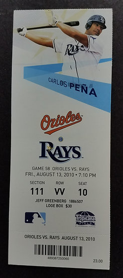 Tampa Bay Rays 2010 Complete Ticket Stub, VS. Orioles