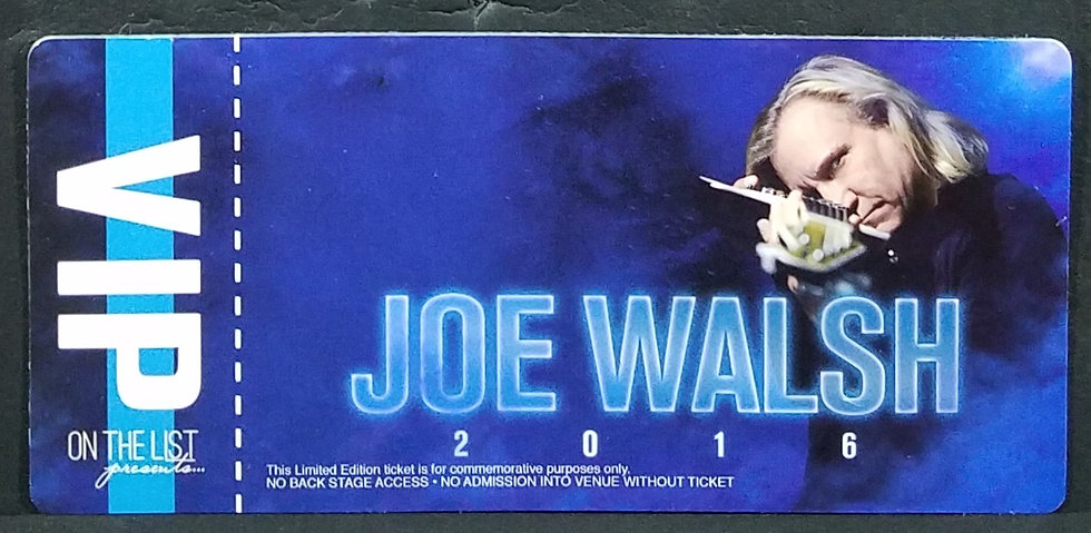 Joe Walsh LenticularVIP Collector's Ticket - Item Tour 2016. New!