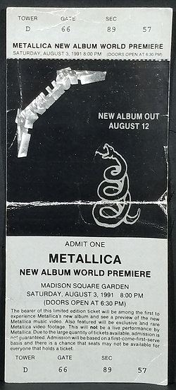 METALLICA 1991 World Premiere Ticket for theBLACK See Below