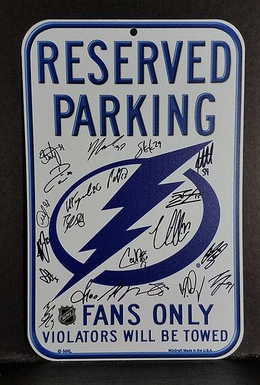 "COA - Signed Tampa Bay Lighting""Team Signed Plastic Parking Sign"""
