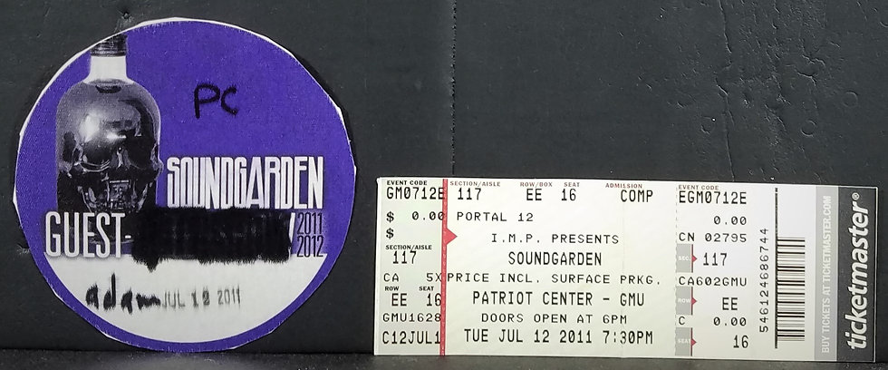 SOUNDGARDEN Guest Backstage Pass + Ticket 7/12/2011 Good Cond.