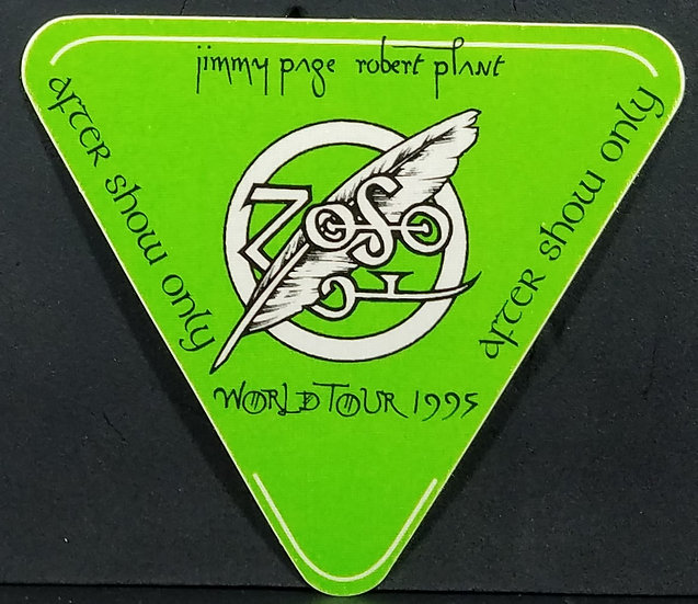 Robert Plant/Jimmy Page 'After Show' Pass, 1995, Unused, OTTO backing, Excellent