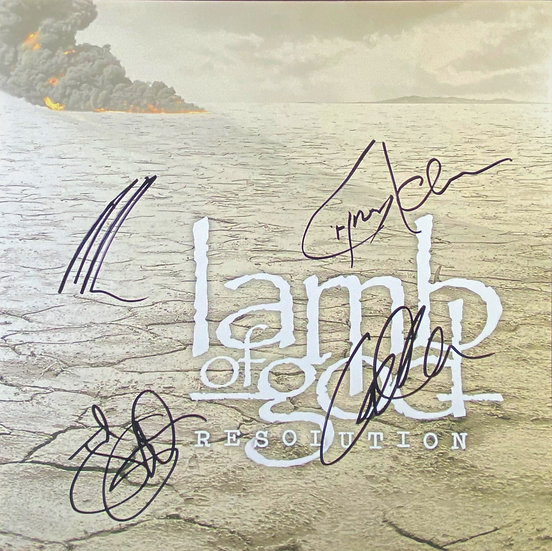 """JSA Authenticated Lamb Of God Signed """"Resolution"""" Album Cover"""