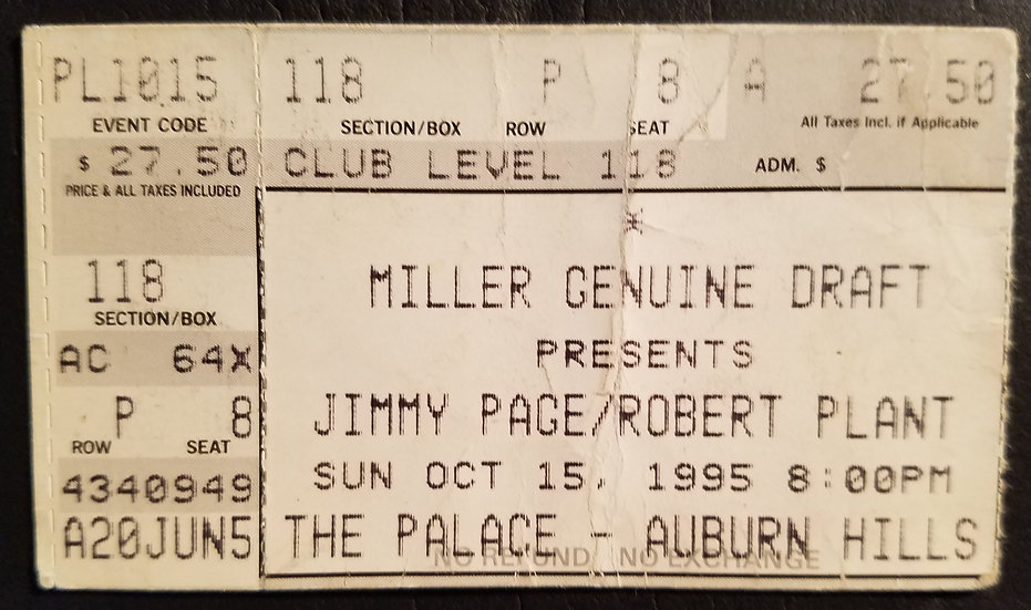Jimmy Page/Robert Plant Concert Ticket Stub 1995, Auburn Hills, Great Condition