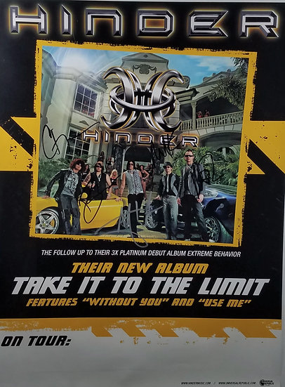 Hinder FULLY signed Promotional Poster (2008), Take It To The Limit