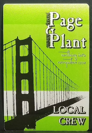 Page & Plant Backstage Pass 'Local Crew' Tour 1998. Excellent Condition