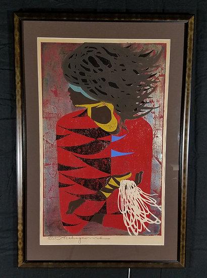 Tadishi NakayamaWomen in Red Coat Woodblock Print, Signed