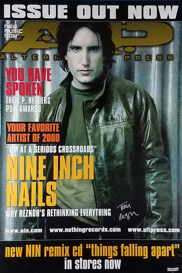 """SOLD NIN  """"A.P."""" Magazine""""  Promo Poster, signed by Trent Reznor"""