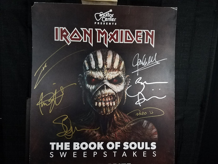 SOLD Iron Maiden signed Guitar Center Large Flat/ Book of Souls