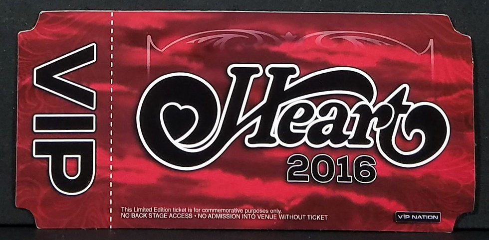 Heart VIP Limited Edition Commemorative Lenticular Tickets 2016, VG Cond.