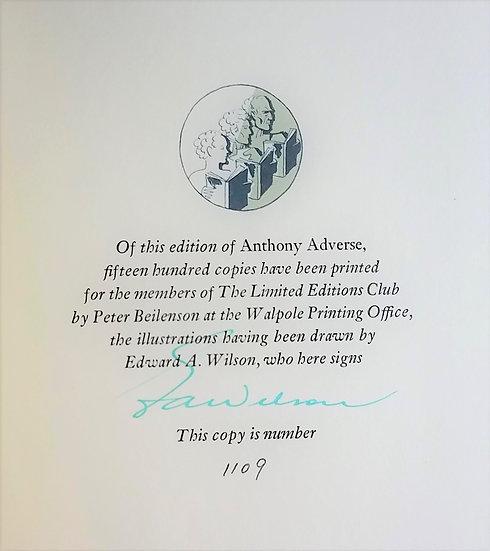 Hervey Allen – Anthony Adverse (3 Volume Set)/Signed by E.A. Wilson