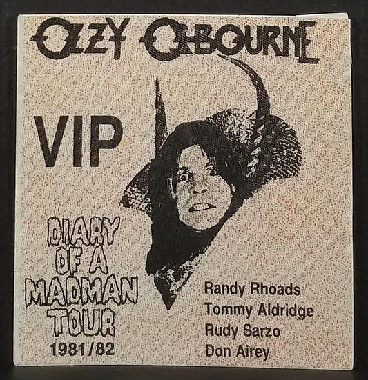 Ozzy VIP Pass, 81-82 Diary Of A Madman Tour, Randy Rhoads