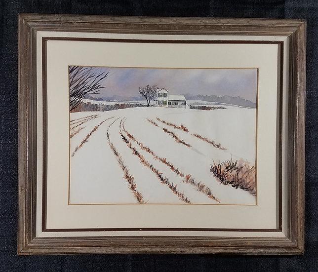 Framed Winter Farm Scene