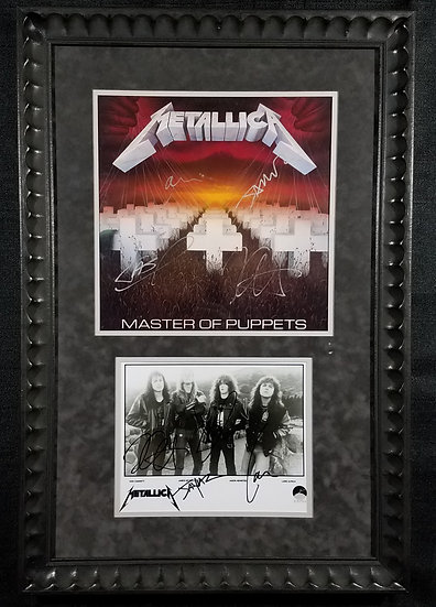 "Metallica signed/framed ""Master Of Puppets"" & ""...Justice For All"" photo"