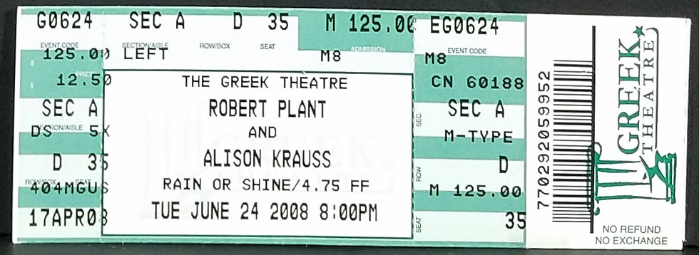 Plant/Krauss Used Ticket, 6/24/2008, Excellent Condition/Near MInt
