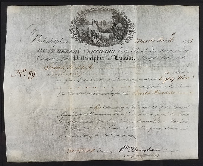 William Bingham Hand Signed, Stock Certificate, 1795, Philadelphia & Lancaster T