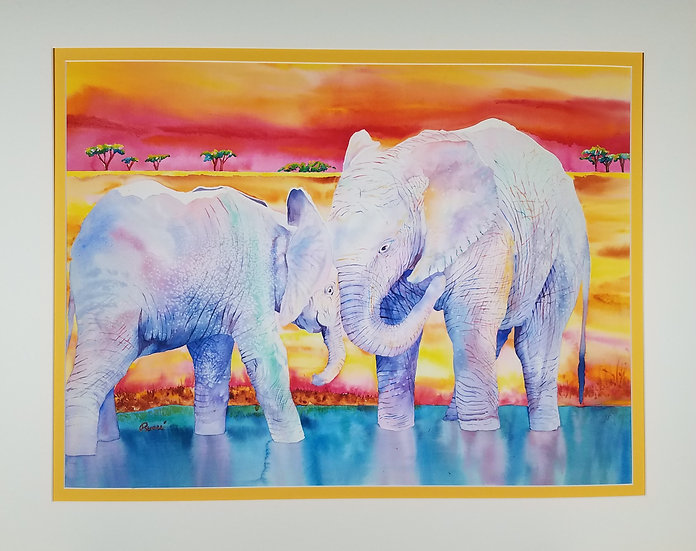 Renee P. African Sunset, Original Watercolor, signed by the artist
