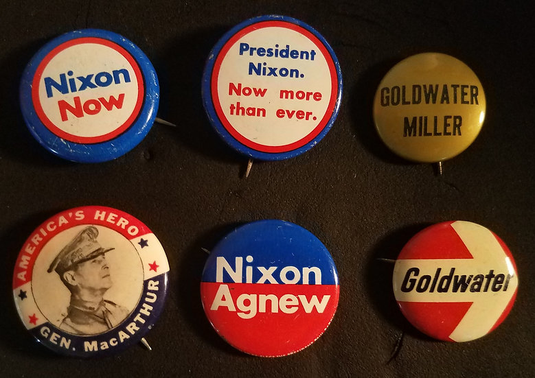 6 Vintage Presidential Campaign Pins (Nixon, MacArthur, and Goldwater) - $3.95