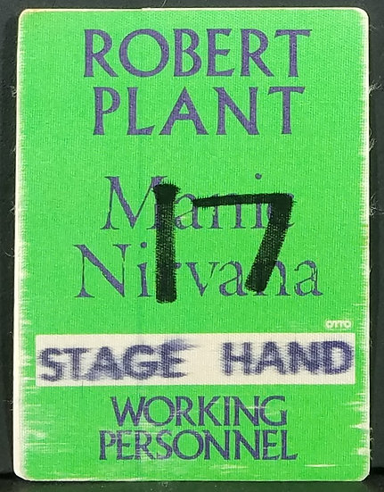 ROBERT PLANT Manic Nirvana Working Personnel Tour Pass 1990. Otto Backing.