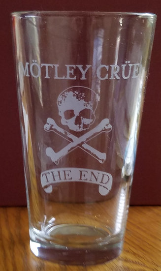 Motley Crue Etched 'The End' Pint Glass, Never Used, 2, NICE!