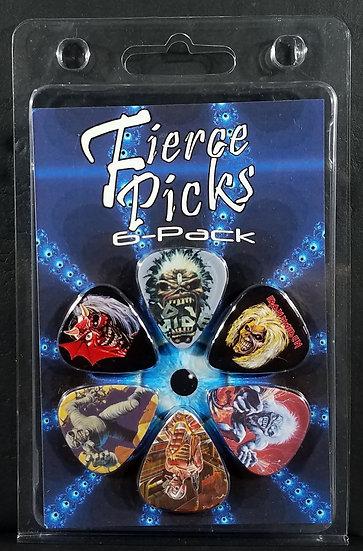 SOLD Iron Maiden 'Fierce Picks 6-Pack', Printed, Eddie, etc. New.