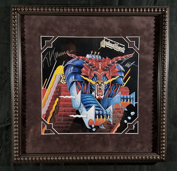 "Judas Priest signed and framed LP ""Defenders Of The Faith"""