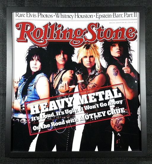 SOLD Motley Crue Large Framed Rolling Stone Cover, 87'