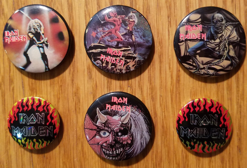 Vintage 1980s Iron Maiden 1 inch Pinback Button, 1983, No Rust, Good Condition