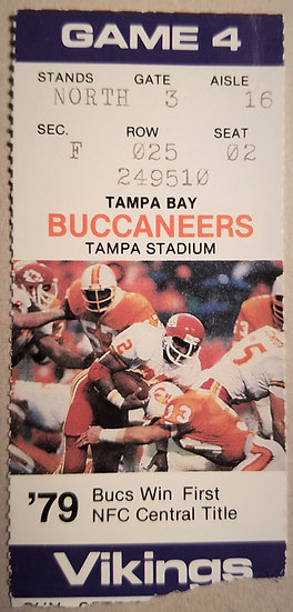 Vintage Tampa Bay Bucs Ticket Stub vs. Vikings